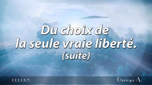 Choix de la seule vraie liberté (suite).